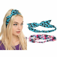 Disney Alice In Wonderland Turban Stretchy Flower Multi-color Headband 2 Pack