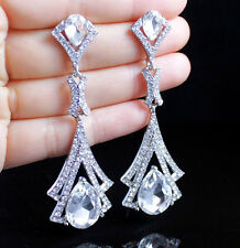 WEDDING DANGLE CRYSTAL RHINESTONE CHANDELIER EARRINGS WHITE BRIDAL E2190 SILVER