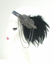 Black Grey Silver Feather Headpiece 1920s Headband Flapper Great Gatsby Vtg 44