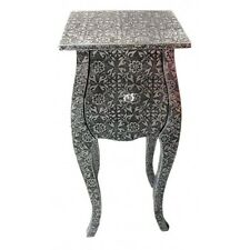 Pair Blackened Silver Embossed Metal Curved Bedside Table Cabinets