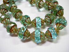 15 12x10mm Czech Glass Faceted Light Aqua Picasso Turbine Beads
