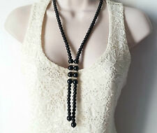 "Gorgeous 22"" long black glass bead & diamante lariat style necklace & earrings"