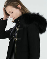 Rare!!! NWT Size S - ZARA BLACK DUFFLE COAT WITH FUR HOOD WOOL JACKET BLAZER