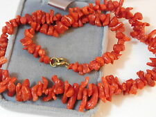 "Vintage Natural Undyed Spice Red Branch Coral Graduated Bead 16"" Necklace 7g 86"