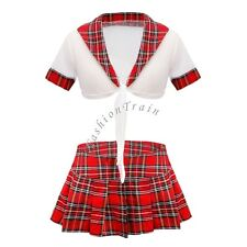 School Girl Womens Uniform Crop Top Outfit Plaid Skirt Cosplay Role Play Costume