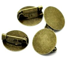 Cabochon Brooch Pin Setting Bronze Round Picture Cameo Steampunk Findings 12 Pcs