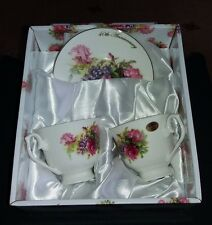 Fine Bone China 40th ruby wedding Cups & Saucers Set *LEONARDO COLLECTION* Boxed