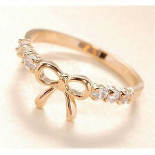 FD314 New Gold Plated Princess Queen Ring Bowknot Rhinestone Diamond Rings~1pc G