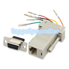 1pcs DB9 Female to RJ45 Female F/F RS232 Modular Adapter Connector Extender