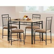 5 Piece Wood Metal Modern Dining Table Set Chairs Dinner Kitchen Dinette Room