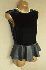 ZARA Black faux leather and velvet peplum tunic top xs 6 8