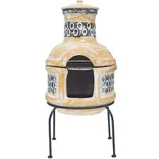 LA HACIENDA PEDRO CLAY CHIMINEA PATIO HEATER WITH BARBECUE 67030.