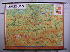 Schulwandkarte Wandkarte Karte Salzburg Mozart QHL Österreich 100T 1975 201x154