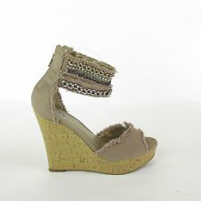 G By Guess GG Toasty Women's Tan Wedge Ankle Strap Chain Fabric Sandal SZ 8