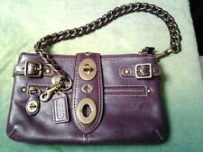 Coach #11622 Legacy Bridgit/Bridget Purple Leather Purse/Clutch  HTF  kiss lock