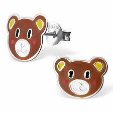Childrens Girls 925 Sterling Silver cute bear face Stud earrings boxed