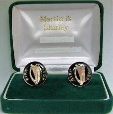 1996 Mancuernas hechas de vieja Irlanda Irlandés monedas en negro y dorado
