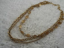 Goldtone Daisy Wheel Etched Link Three Chain Necklace  (A66)