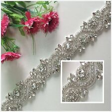 Wemosi Ivory Hot Sale Rhinestone Applique Bridal Sash Belt for Happy Wedding