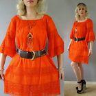 Vtg 70s Mexican CUTOUT Lace CROCHET SHEER Orange Ethnic Boho Hippie Mini DRESS