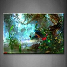 Canvas Print Two Peacocks Walk In Forest Beautiful Wall Art Painting The Picture