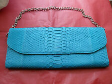 OVERSIZED PYTHON SNAKE LEATHER FOLDED FLAP CLUTCH PURSE BAG DETACHABLE CHAIN NEW
