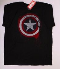 Marvel Comics Captain America Logo Shield Mens Black T-Shirt NWT Size Large