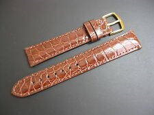 18 mm Hadley Roma MS822 Brown Genuine Crocodile Watch Strap Set! band Made USA!