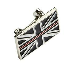 THIN RED LINE UK FIREMAN FIREMEN FIREFIGHTER MOURNING BAND ENAMEL BROOCH BADGE