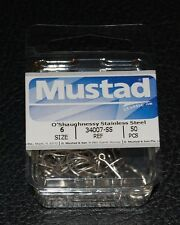 50 Mustad 34007SS-06 Size 6 Saltwater Stainless Steel O'Shaughnessy Hooks