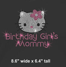 Hello Kitty Birthday Girl's Mommy iron on rhinestone transfer bling patch