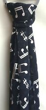 BEAUTIFUL LADIES MUSIC NOTES FASHION SCARF WITH SILVER COLOURED FOIL PRINT