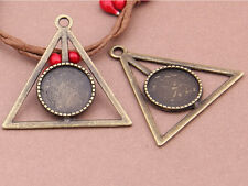 12pcs Triangle Pendant Trays,16mm Antiqued Bronze Cabochon Setting Pendant Blank