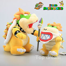 2pcs Super Mario Bros Bowser King Koopa & Bower JR Cute Stuffed Plush Doll Toy