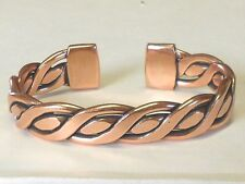 NEW SOLID COPPER Mens Braided Adjustable Cuff Bracelet Pain relief folklore
