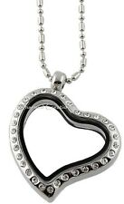 CZ Heart Shape Silver Tone Floating Charm  Living Memory Locket Necklace & Chain