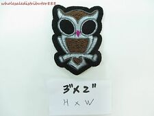 "Iron On Sew on Patch Badge Applique cute owl embroidered patches 3"" x 2"""