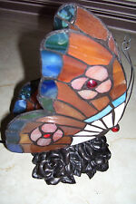 Tiffany style butterfly table lamp.Multi coloured.With in line switch & bulb.
