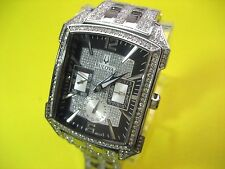 BULOVA 96C108 MEN'S DRESS WATCH ST STEEL & CRYSTALS DAY/DATE CRYSTAL DIAL