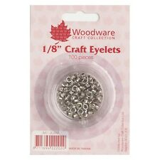 """Woodware 3mm Metallic Silver Eyelets - 1/8"""" - Cardmaking, Crafts - 100 pcs"""