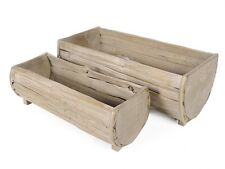 Pair Of Forest Wood Outdoor Planters