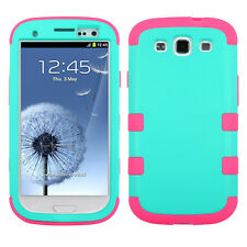 Samsung Galaxy S III 3 Rubber IMPACT TUFF HYBRID Case Phone Cover Teal Hot Pink