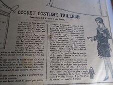 """PATRON ORIGINAL POUR LA POUPEE LISETTE  """"UN COQUET COSTUME TAILLEUR  1924"""