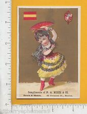 7966 Trade card Spain national seal costume flag N. A. Moses store Boston, MA