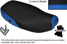LIGHT BLUE & BLACK CUSTOM FITS PIAGGIO VESPA LX 125 DUAL LEATHER SEAT COVER
