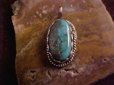 """Torquoise and Sterling Pendant Royston Turquoise BEAUTIFUL 1 """" x 1/2 """" Pendant"""