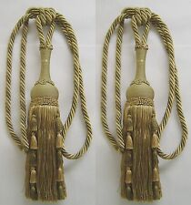 2 Upholstery Tassel Tieback Loden Green and Sage Green has matched Tassel Fringe