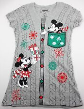 Disney Parks Mickey Minnie Mouse Christmas Sweater Gray Womens T-Shirt XS XSmall