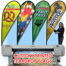 11' Full Color Custom Flag Teardrop Advertising Sign Blade Banner +Pole & Spike