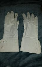 TRUE Vtg Ladies Gloves Kidskin White Leather SZ 7 1950s 1960's Made in Japan